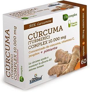 Cúrcuma complex 10.000 mg con extractos seco de cúrcuma, jengibre, pimienta negra y vitamina C 60 cápsulas vegetales.