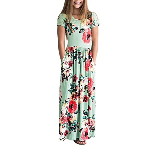 e5c73b2b81a ZESICA Girl s Summer Short Sleeve Floral Printed Empire Waist Long Maxi  Dress with Pockets