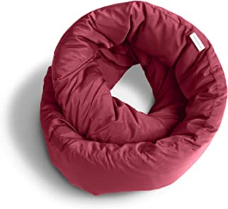 Huzi Infinity Pillow - Versatile Soft Neck Support Scarf Travel Pillow for Sleep in Flight, Airplane (Burgundy)