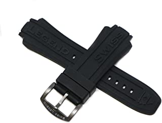 Swiss Legend 19MM Black Silicone Band Strap & Gunmetal Gray Stainless Buckle fits 53mm Neptune Watch