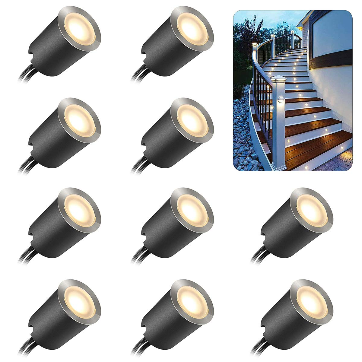 Recessed Led Deck Light Kits With Protecting Shellf32mm 10pack Smy In Ground Outdoor Led Landscape Lighting Ip67 Waterproof 12v Low Voltage For Garden Yard Steps Stair Patio Floor Kitchen Decoration