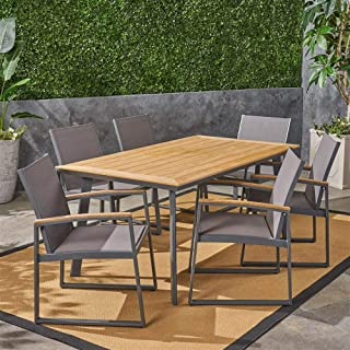 Noble House 7-Pc Leeds Patio Dining Set in Natural and Gray
