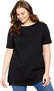 Woman Within Women's Plus Size Perfect Boat Neck Elbow-Lengh Sleeve Tunic