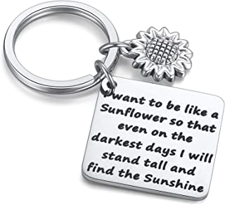 JZSTA Sunflower Charm Keychain I Want to be Like a Sunflower Floral Key Chain Spiritual Gifts for Women