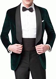 Mens Tuxedo Fashion Designer Coat Green Velvet Groomsmen Jacket Shawl Lapel Blazers Coat
