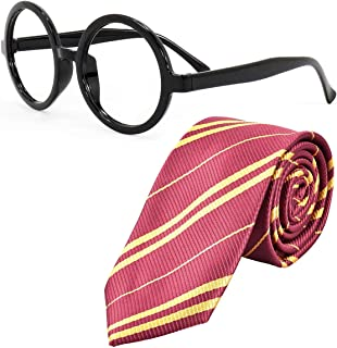 Sawaruita Striped Tie with Novelty Glasses Frame, for School Christmas Cosplay Costumes Accessories, Suit Kids Teens、Women and Men (Deep Red)