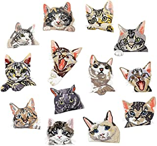 13 Pcs Cute Cat Iron on Patches Embroidered Motif Applique Assorted Size Decoration Sew On Patches for DIY Jeans Jacket, Clothing, Handbag, Shoes,Caps