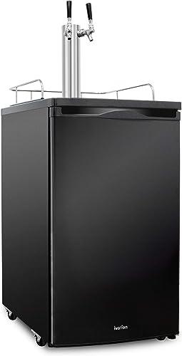 discount Ivation Full Size Kegerator | Dual Tap Draft Beer Dispenser & Universal Beverage Cooler | Mounted CO2 outlet online sale Cylinder, Temperature Control, Drip Tray & Rail | sale Fits 1/2 Keg, 1/4 Pony Keg, (2) 1/6 Kegs (Black) online sale