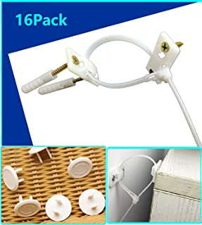 Adjustable Anti-tip Furniture Strap Kit(8 Pack) and Plug Covers(8 Pack), Safety Earthquake Straps,Furniture Anchors for Baby Proofing,Bookshelf, Dresser, TV, Wardrobe from Falling
