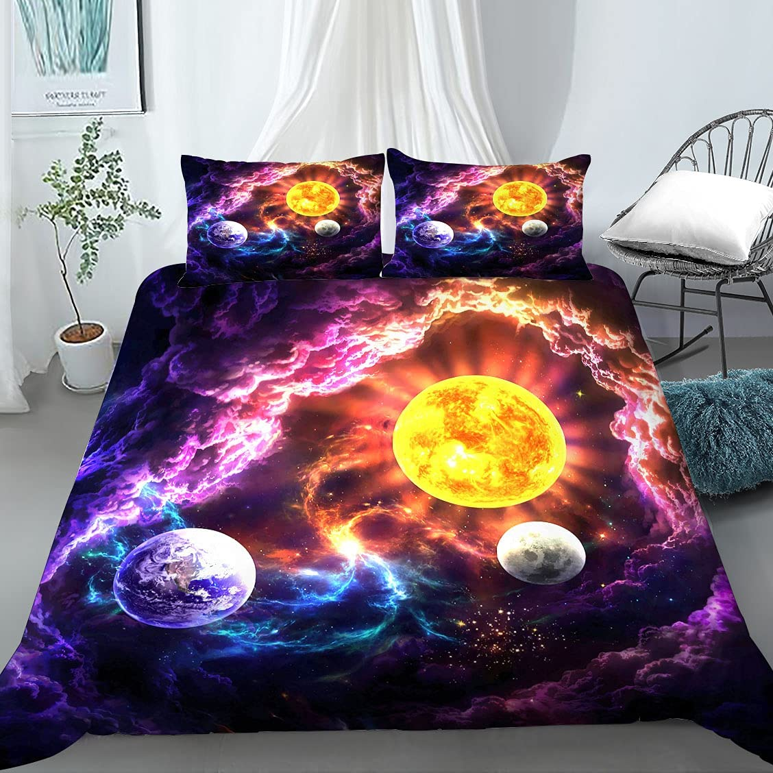 MUSOLEI Popular shop is the lowest price challenge Galaxy Bedding Queen Space Universe E In a popularity Duvet Cover Purple