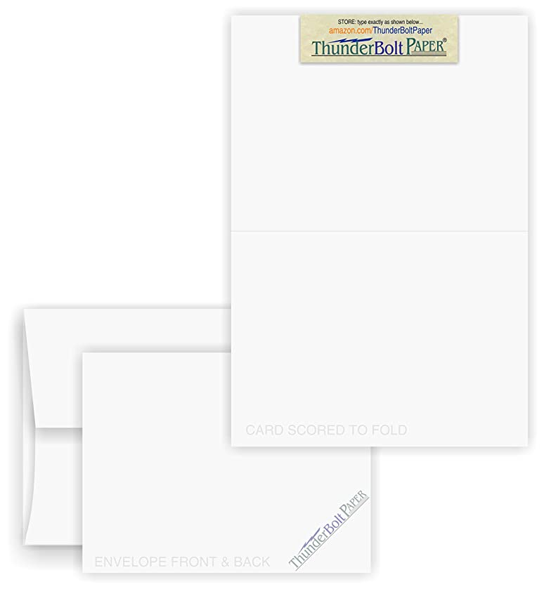 4X6 Folded Size with A-6 Envelopes - White Smooth - 25 Sets (6X8 Cards Scored to Fold in Half) Matching Pack - Invitations, Greeting, Thank You, Notes, Holidays, Weddings, Birthdays, Announcements