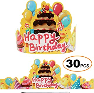 JINCH Birthday Crowns for Kids Classroom, Cute Elastic Happy Birthday Hats for Students Class School Kindergarten VBS Party Supplies, Pack of 30