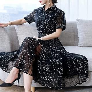 ABDKJAHSDK Plus Large Size M-3Xl 2019 Summer New Elegant Style Round Neck Round Neck Lace Short Sleeve Ladies Chiffon Dress