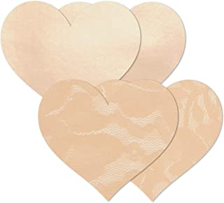 Nippies Women's Satin and Lace Heart Waterproof Adhesive Fabric Nipple Cover Pasties
