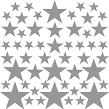 PREMYO 54 Estrellas Pegatinas Pared Infantil - Vinilos Decorativos Habitación Bebé Niños - Fácil de Poner Gris