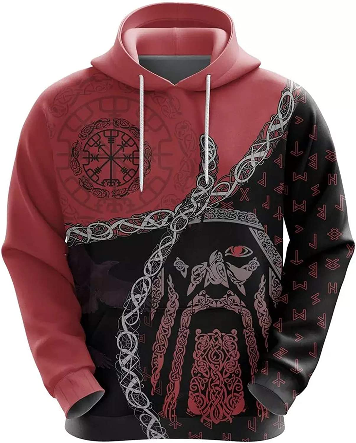 Viking Hoodies,Odin Norse Helm of Awe 3D Printed Mens Tattoo Harajuku Streetwear Pullover Unisex Casual Tracksuits