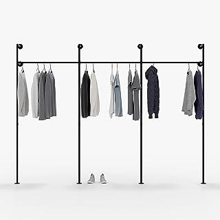 Pamo Tringle à vêtements au Design Industriel Loft - Portant pour penderie à suspendre pour chambre à coucher avec tubes à...