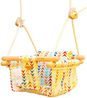 Baby Canvas Secure Swing, Portable Baby Swing Fabric Hanging Swing seat Chair, Wooden Infant Swing, Stationary Indoor Outd...