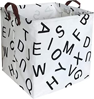 ESSME Square Storage Bin,Cotton Fabric Laundry Baskets,Collapsible Waterproof Toy Storage Bin with Handles for Family Storage,Shelf Baskets 13