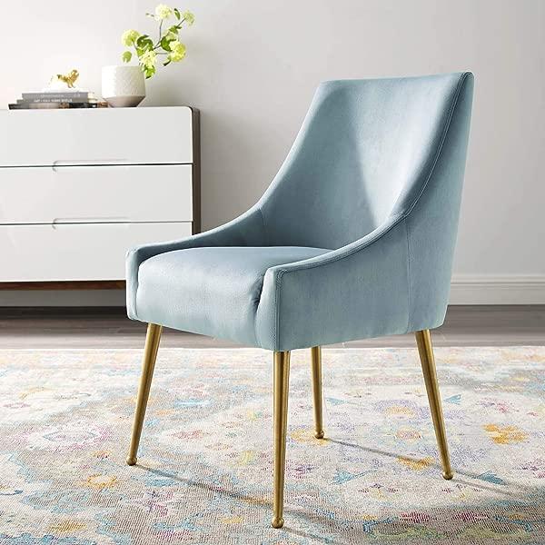 Modway EEI 3508 LBU Discern Upholstered Performance Velvet Dining Chair Light Blue Renewed