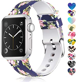 Moretek Colorful Band Compatible for Apple Watch 38mm 42mm 40mm 44mm,Soft Silicone Sport Replacement Strap for iWatch Series 5 4 3 2 1, Nike+, Edition Women Men (Flower 13, 38/40mm)