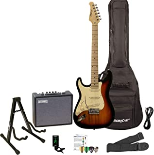 Sawtooth ST-ES-LH-SBVC-KIT-3 Left Handed Electric Guitar, Sunburst with White Pickguard, Lesson, Gig Bag, Stand, Cable, Picks, Tuner, Strap and Amplifier