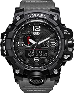 SMAEL Men's Sports Analog Digital Quartz Military Watch Waterproof Multifunctional Large Dial Wrist Watch for Men