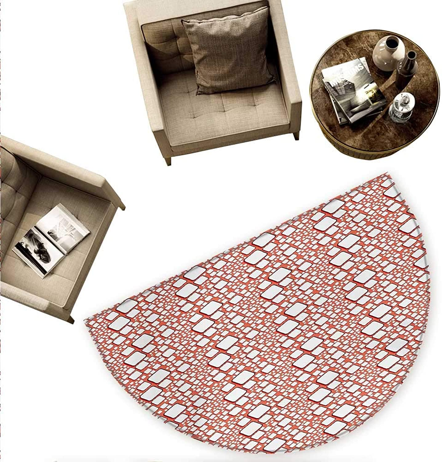 Abstract Semicircular Cushion Ornamental Squares with Oval Corners in Various Shapes Geometric Pattern Entry Door Mat H 78.7  xD 118.1  Dark Salmon White