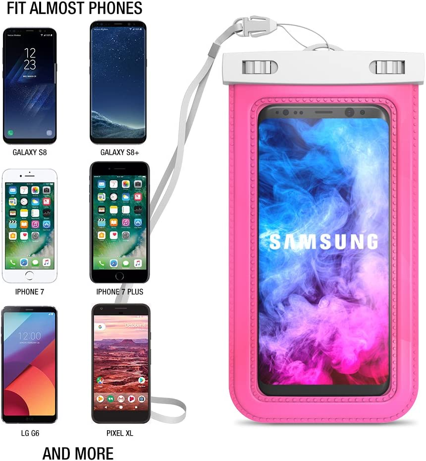 """(2Pack) Universal Waterproof Case, Trianium [White/Hot Pink] Cellphone Dry Bag Pouch w/ IPX8 for Cell Phone X 8 - iPhone, Samsung Galaxy S9, LG, HTC,Nokia,Xperia,Motorola up to 6.0"""" Phone Diagonal"""
