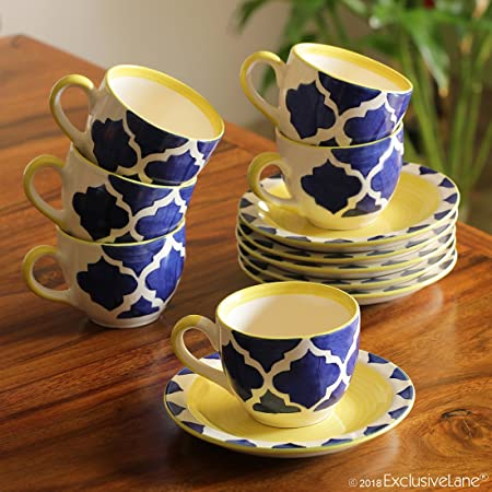 Buy Exclusivelane Tropic Of Kulhads Moroccon Handpainted Ceramic Kulhad Cup Coffee Chai Kullad Tea Cups Set Of 6 120 Ml Blue White Yellow Microwave Dischwasher Safe Online At Low Prices In India