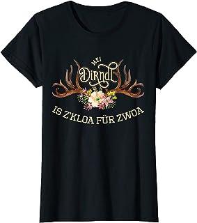 """Mei Dirndl is z""""kloa T-Shirts Damen Mei Dirndl is z""""kloa für zwoa lustige Sprüche für Schwangere T-Shirt"""