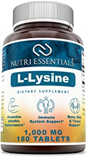 Nutri EssentialsL-Lysine–1000mg180 Tablets - Commonly UsedforCold Sores, Immune Support, Respiratory Health & More