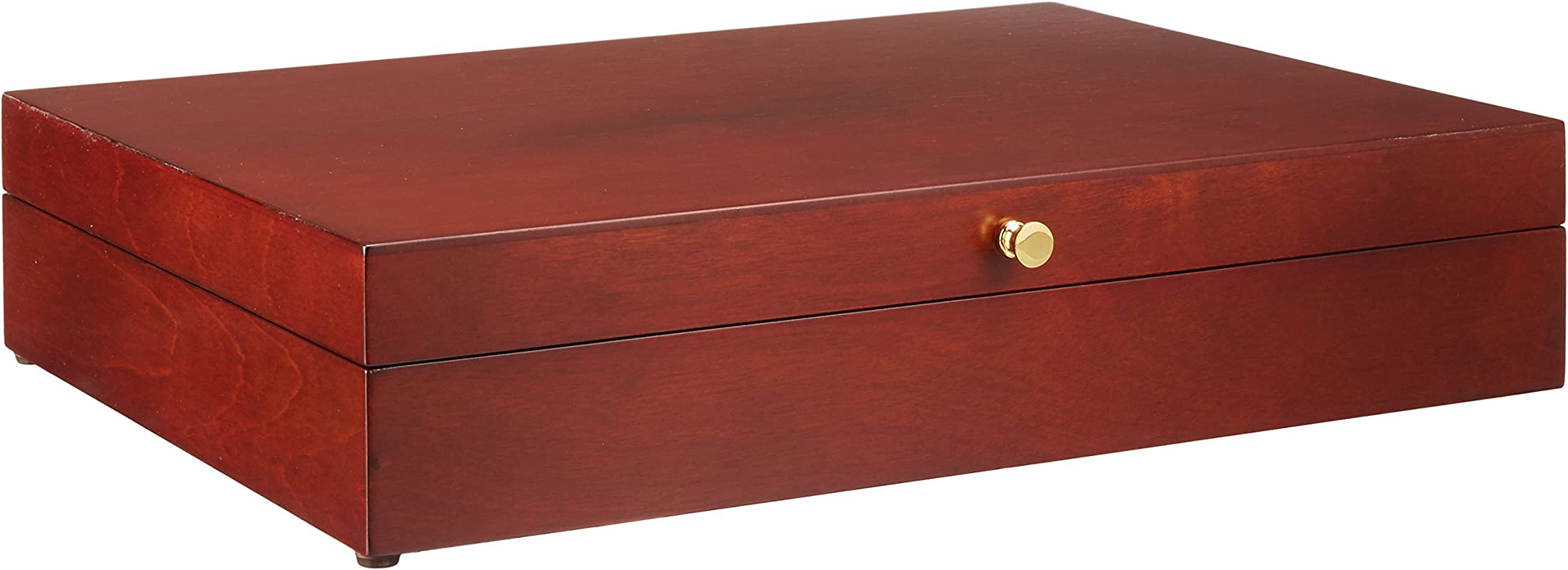Reed Barton Flatware Chest Mahogany Finish Brown Tarnish Proof Fabric Lining Brass Lid Hardware