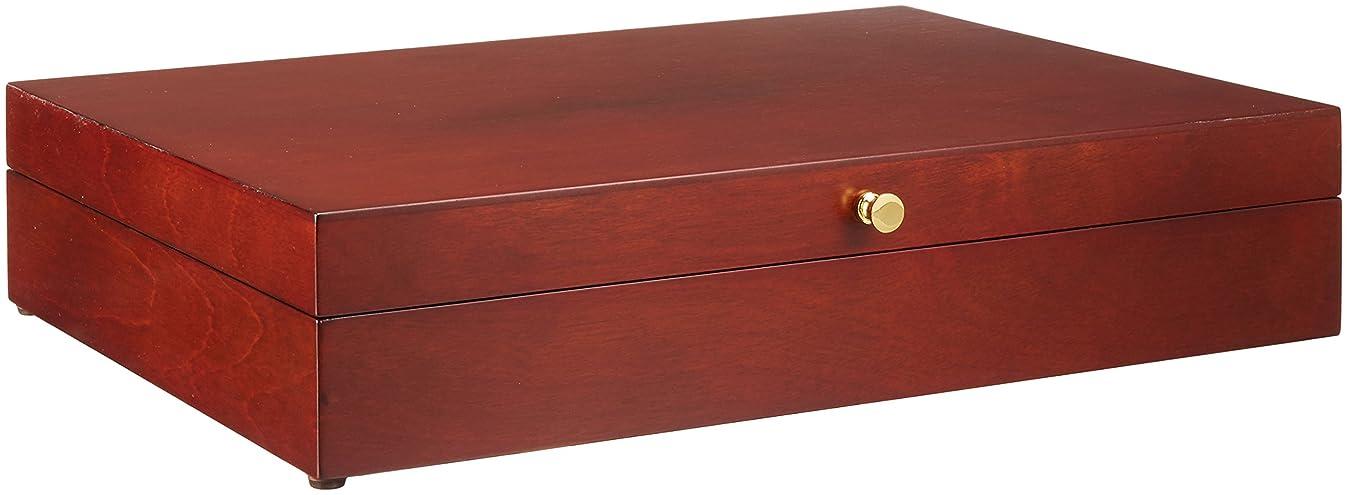 Reed & Barton Flatware Chest Mahogany Finish Brown Tarnish Proof Fabric Lining Brass Lid Hardware