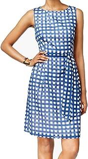 $129 Womens New Blue Polka Dot Tie Sleeveless Shift Dress 14 B+B