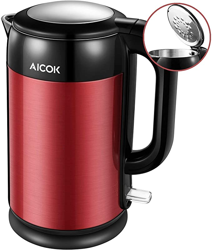 Electric Kettle Double Wall Stainless Steel Kettle 1500W Ultra Fast Cordless Water Boiler 100 BPA Free With British Strix For Auto Off And Boil Dry Protection 1 7L By Aicok