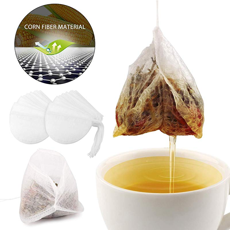 3D Ultra Thin Corn Fiber Drawstring Sealing Tea Filter Bags Disposable Empty Tea Infuser Bags For Loose Leaf Tea Pot Soup Coffee Braised Food Flower Tea 100pcs