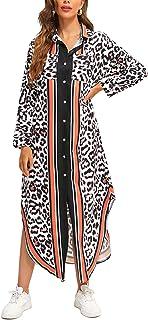 FridayIn Women's Leopard A-Line Long Sleeve Summer Button Down Floral Loose Long Dress