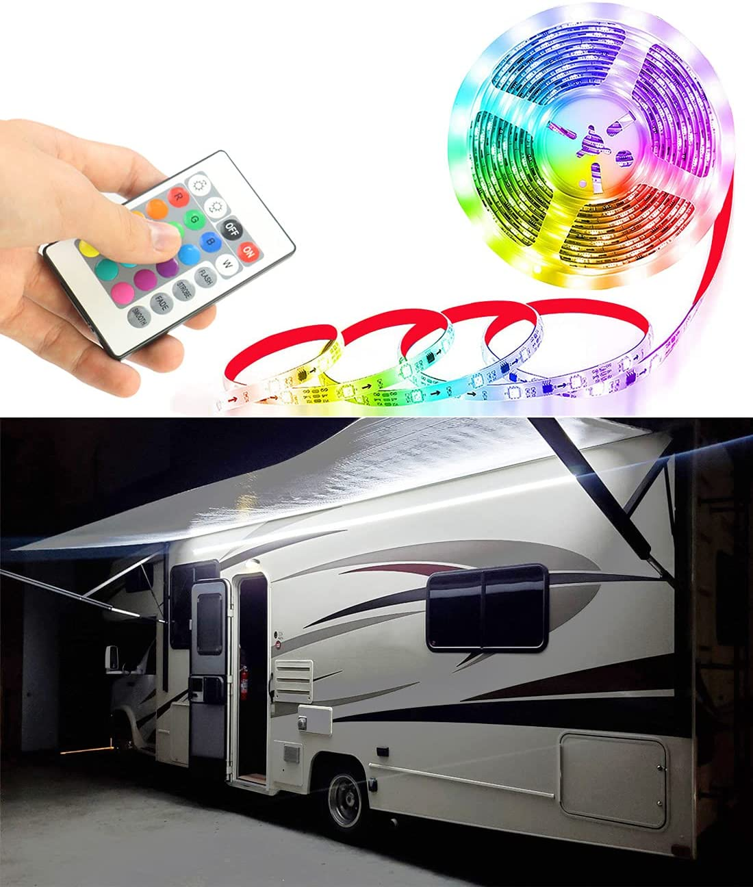 Seagenck RV Led Awning Party Light, Led Awning Strip Light for Camper Motorhome Travel Trailer Concession Stands Food Trucks, Light Up Canopy Area for BBQ Play Cards, 5m(16.4ft), Dc 12v, RGB