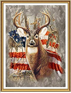 Ginfonr 5D DIY Diamond Painting Art American Flag Deer for Adults Full Drill by Number Kits, Elk Paint with Diamonds Animal Craft Embroidery Rhinestone Cross Stitch Decor (12x16 inch)