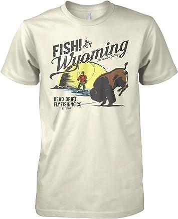 fed4259a Dead Drift Fly Retro Buffalo Fish Wyoming Fly Fishing T-Shirt (Medium,  Creame