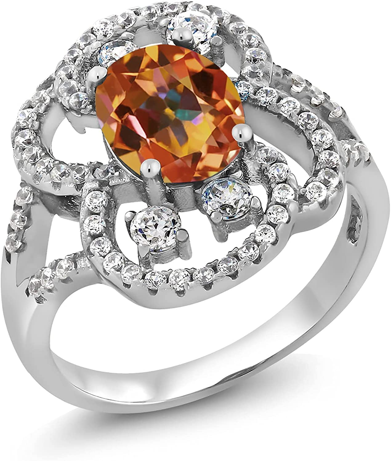 Gem Stone King Special sale item 2.82 Fort Worth Mall Ct Oval Mystic Sterling Ecstasy Topaz 925 Si