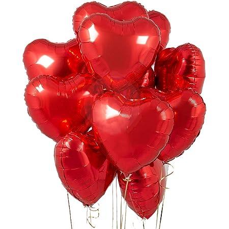 GRANDSHOP Heart Shape Foil Balloon Pack of 10 (RED)