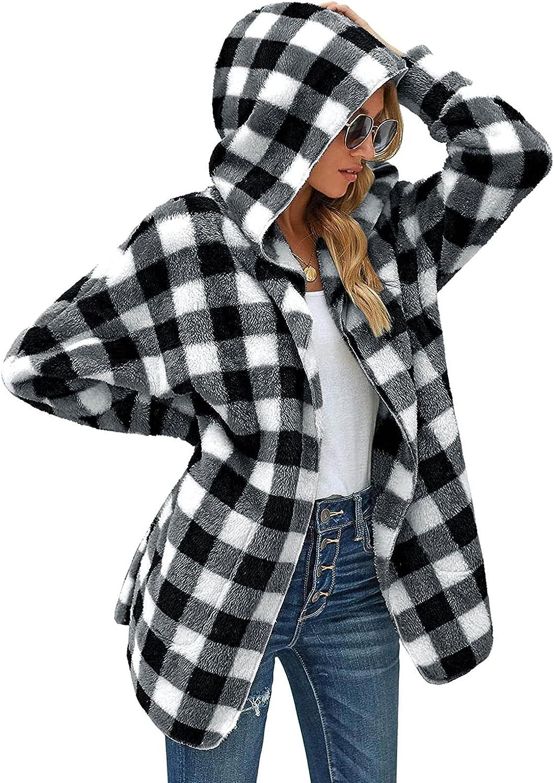 Women Hooded Cardigan Jacket Plaid Fuzzy Fleece Hoodie Winter Open Front Coat Outwear with Pockets