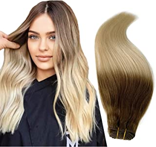 8/60 Hair Weft Extensions Real Human Hair Platinum Blonde #60 with Ash Brown #8 Ombre Hair Weave 20 Inch 100grams Straight...