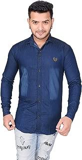 JMP Men's Denim Regular Fit Solid Full Sleeve Shirt (Dark Blue)