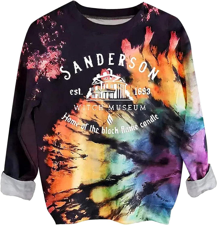 ONHUON Hoodies for Women,Womens Fashion Tie Dye Print Pullover Hoodies Casual Loose Long Sleeve Sweatshirts Blouse Tops