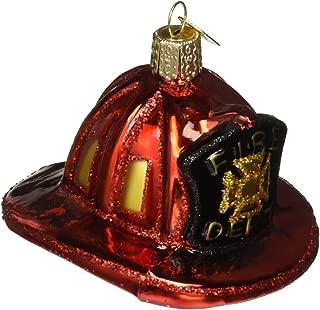 Old World Christmas Ornaments: Fireman's Helmet Glass Blown Ornaments for Christmas Tree (32225)