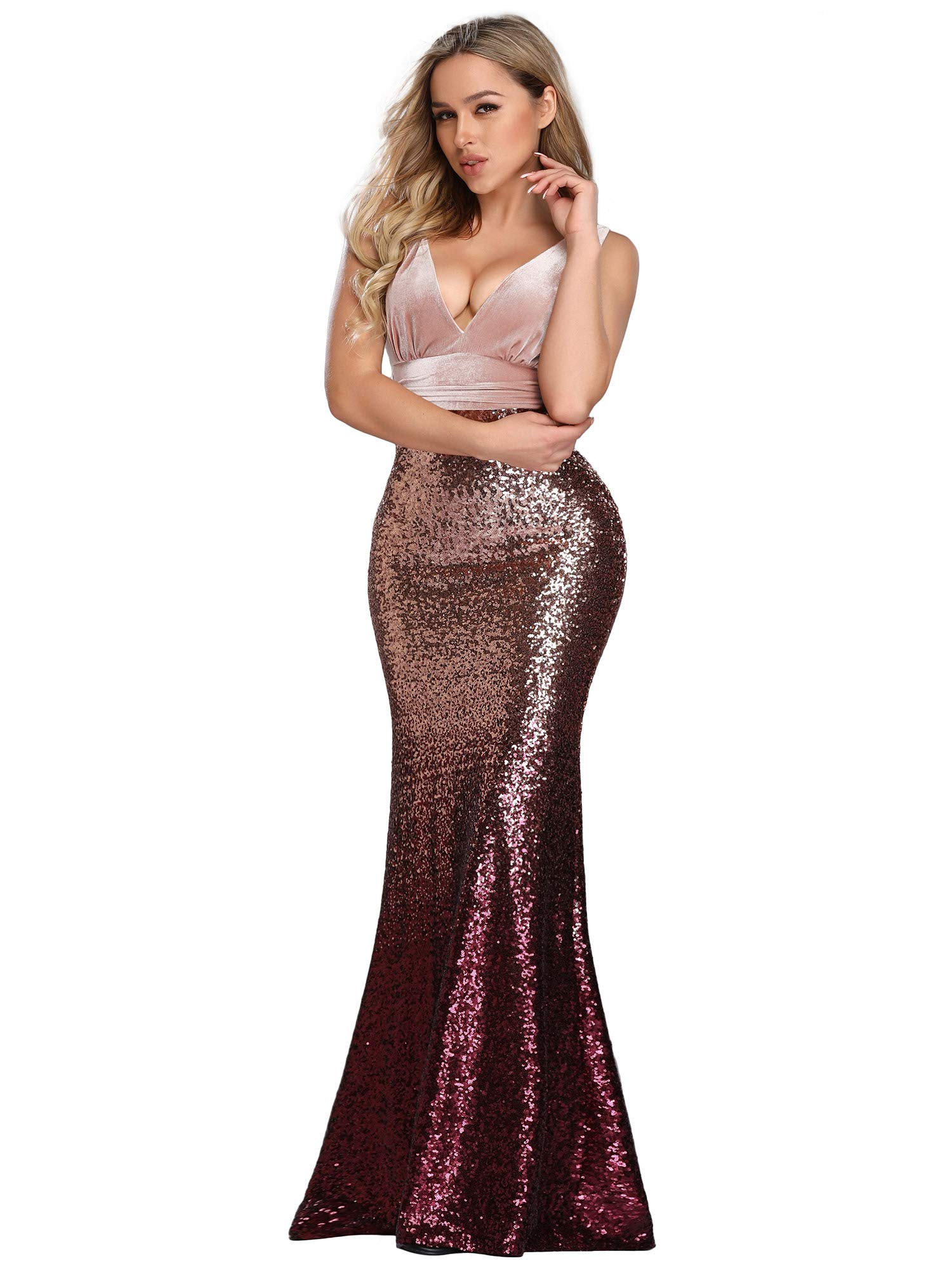 Prom Dresses - Women's V Neck Sequined Prom Banquet Party Maxi Dress