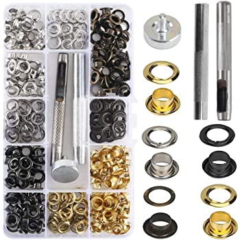 ManLee 360Pcs Grommet Tool Kit 5mm Metal Grommets Kit Multi-Color Grommet Eyelets Scrapbooking Eyelets with 3 Install Tools for Shoes Clothes Bags Canvas Leather DIY Crafts 12 Colors